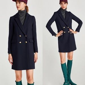 Zara navy doublebreasted coat with gold buttons XS